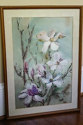 Original signed watercolor art deco, framed in NY 1948 for antique collector