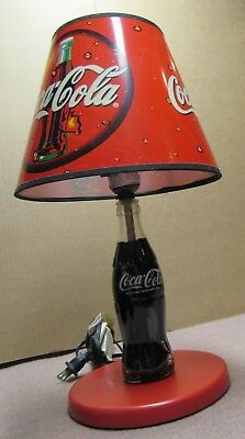 """Coca Cola Bottle Lamp With Shade - 12"""" Tall - Limited Edition 1998 - Excellent"""
