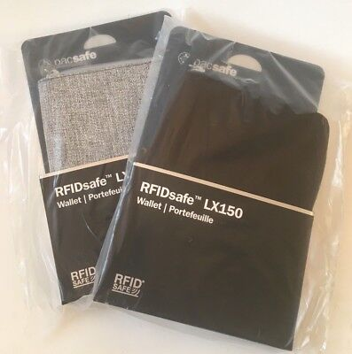 Pacsafe LX150 RFID passport travel wallet tweed gray and black LOT OF TWO
