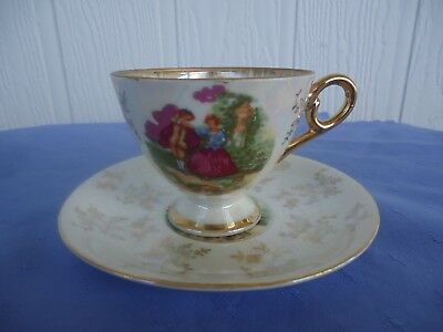 vintage crinoline lady lustre ware tea cup & saucer Japan french couple 2 avail