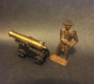"""Toy Cast Iron Cannon With Brass Barrel Civil War Style With 3"""" Cast Iron Soldier"""