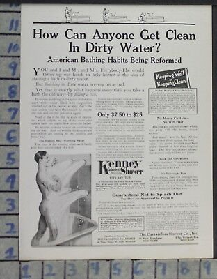 1917 Kenney Shower Clean Man Nude Bath Home Tub Decor Vintage Gay Art Ad  Cy59