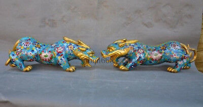A pair China old Bronze Cloisonne Gilt Fengshui Brave Troops Pixiu Beast Statue
