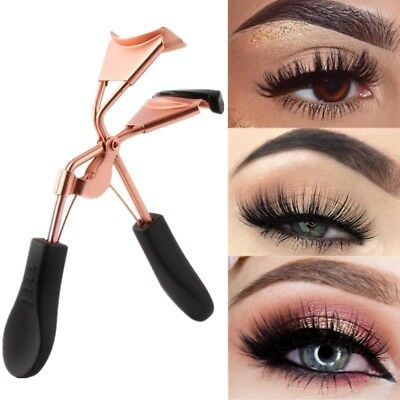 Rose Gold Eyelash Curler Eye Lash Curl Clip Makeup Tool Black Handle Steel