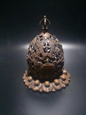 Chinese Antique Red bronze sculpture hollow pagoda incense burner  a