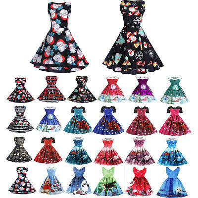 Women Christmas Printed Retro Party Cocktail Swing Dress Expansion Skirt n1120