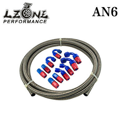 6AN Stainless Steel Braided Fuel oil Line +6AN Swivel Fitting Hose End Kit