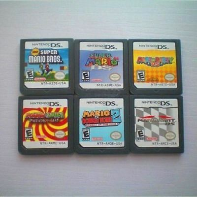 6Pcs Super MARIO Kart  64  Party Game Card For DSL NDS DSI 3DS DS XL 2DS
