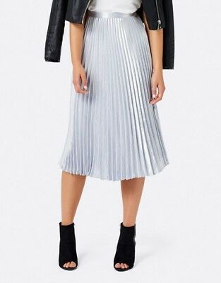 FOREVER NEW 'harriet' satin pleated SILVER midi skirt size 8 BNWT