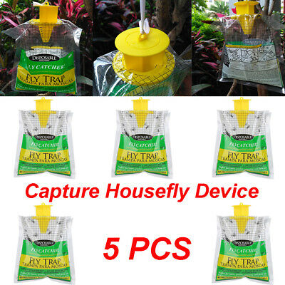 Disposable Fly Trap Catcher Insect Trap Hanging Style Pest Control 5pcs AU Stock