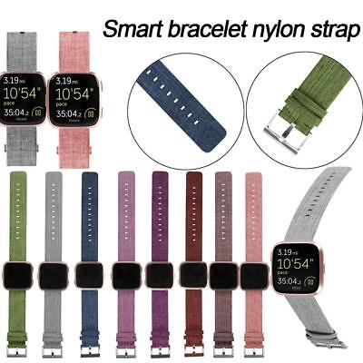 Canvas Woven Fabric Watch Band Bracelet Strap w/ Buckle For Fitbit Versa Watch