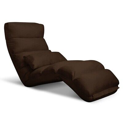 Lounge Sofa Bed Floor Recliner Folding Chaise Chair 75 Adjustable Angles Brown