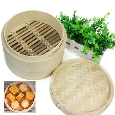 2 Tier Bamboo Steamer - For Oriental Foods - Vegetables Rice & Dim Sum Pack Of 1