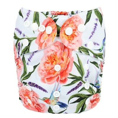 2018 New Baby Pocket Cloth Diaper Nappy Reusable Washable Floral Humming Birds