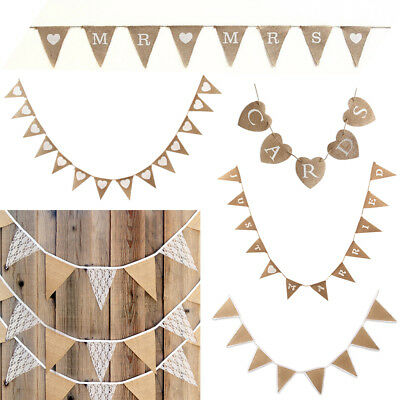 Hessian Wedding Bunting Fabric Bunting Vintage Party Hang Banner Decor Flag