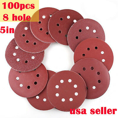 5in 40 60 80-800 Grit Hook Loop Pads Sanding Disc Sheet Sander Orbital Sandpaper