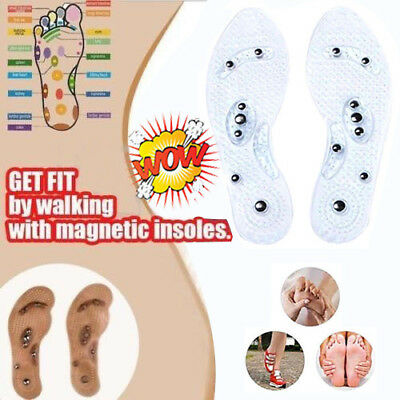 UK Therapy Acupressure Magnetic Massage Shoe Insole Gel Pad Foot Relax Cushion S