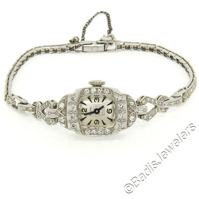 Antique Art Déco Platine 1.16ctw Bracelet de Diamants Suisse Belvil 17j Montre