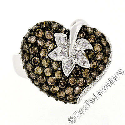 Grand 10K or Blanc 3.10ctw Chic Brun & Blanc Cluster Diamant Feuille Heart Ring