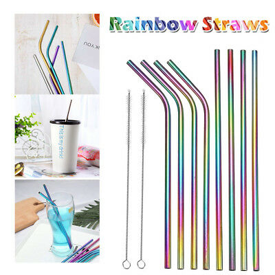 2-8xPremium Stainless Steel Metal Drinking Straw Straight/Bent Reusable Washable