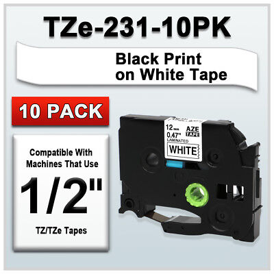 TZe 231 Compatible Brother P Touch Label maker Tape Laminated 10PK 1/2'' 12mm