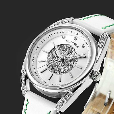 Taylor Cole Luxury Women's Crystal White Analog Quartz Leather strap Wrist Watch