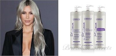 CADIVEU PLATINUM BLONDE SMOOTHING HAIR TREATMENT TONNING NO YELLOW 3x 500ml KIT