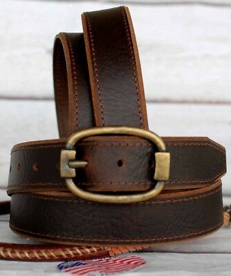 L Mens 100% Cowhide Leather Strap Casual Work Dress Jeans Belt Brown 2613RS01