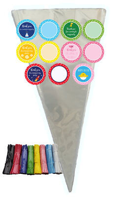 CLEAR CELLOPHANE CONE BAGS LARGE cello sweet party packs STICKERS TWIST TIES