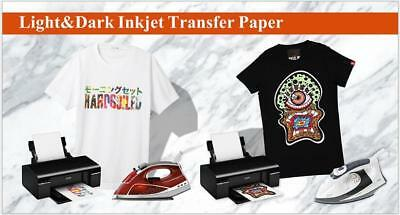 A4 Iron On Transfer Paper Inkjet Print Light / Dark Fabrics Print 10/20 Sheets