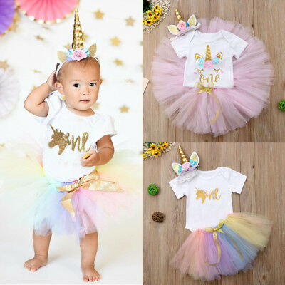 UK Stock Newborn Kids Baby Girls Unicorn Romper Tutu Skirt Dress Headband Outfit
