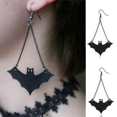 UK! 1 Pair Vintage Black Bat Shaped Chain Gothic Halloween Earrings Jewelry Punk