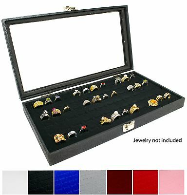 Novel Box Glass Top Black Jewelry Display Case + Black 72 Slot Ring Display