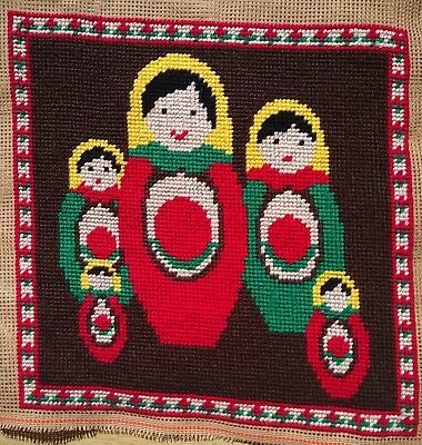 Modern Tapestry: Unique Handmade 'Russian Doll Family' Sampler