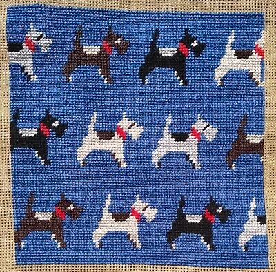Modern Mini Tapestry: Unique Handmade 'Scottie Dogs' Sampler