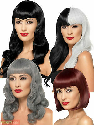 Ladies Deluxe Halloween Wig Heat Resistant Witch Vampire Fringe Fancy Dress