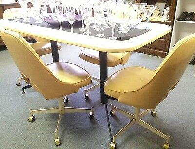 STONEVILLE Mid Century Modern Dining Table & 4 Swivel Chairs Dinette Set Vtg