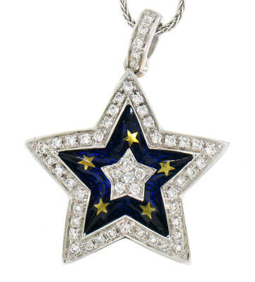 18k Yellow White Gold 1.10ctw Diamond Star Pendant Necklace w/ Blue gold Enamel