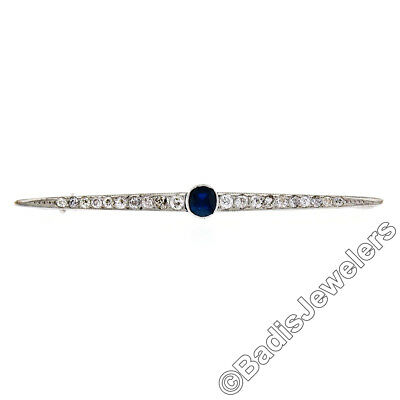 Antique Art Deco 18K White Gold 2.05ctw Diamond Sapphire Milgrain Bar Pin Brooch