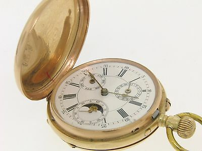 Antique 14k Solid Gold Day Date Moon Phase French Qualite Lepine Pocket Watch