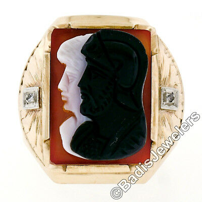Antique Victorian Men's Large 10k Gold Agate Double Cameo Engraved Diamond Ring