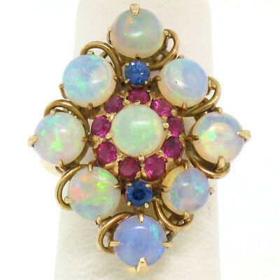 Vintage 14k Yellow Gold Australian Opal Ruby & Sapphire Marquise Cluster Ring