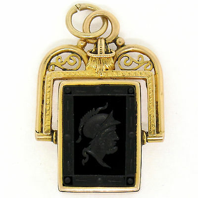 Antique Victorian 14K Gold Carved Black Agate Carnelian French Watch Fob Pendant