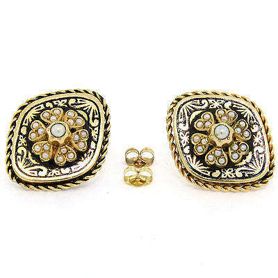 Antique Victorian 14K Gold Seed Pearl & Black Enamel Marquise Panel Earrings