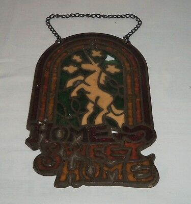 VTG Heavy Metal Stained Glass Unicorn Sign Window Hanging Suncatcher Home Sweet