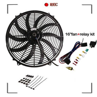 """AUS 10"""" Inch Pull&Push Radiator Electirc Thermo Curved Blade FAN&MOUNTING"""