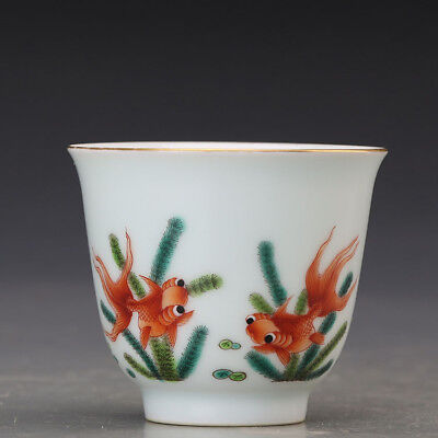 China old antique Porcelain Qing kangxi famille rose gild gold Fish Cup