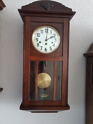0116 - Antique German Junghans  Westminster chime wall clock Porcelain dial