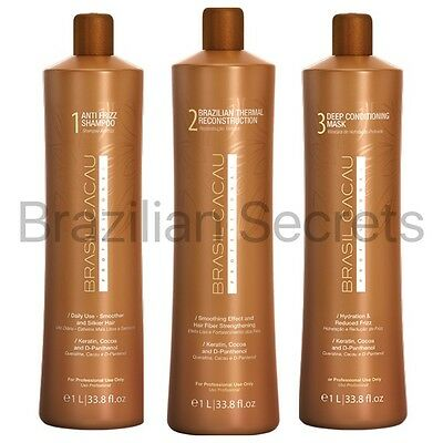 Cadiveu Brasil Cacau Brazilian Keratin Treatment Blow Dry Hair Straightening Kit