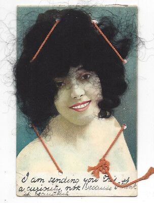 GLAMOUR Novelty Postcard with Fake Hair, Old Postcard Postally Used c1910